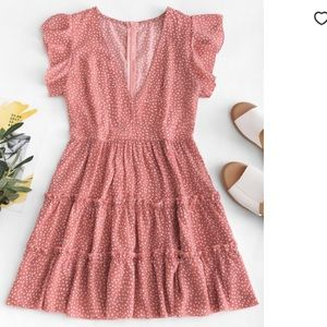 Raindrop Print Ruffles Mini Dress
